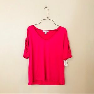 NWT Hot Pink Lace Up Sleeve Knit Top
